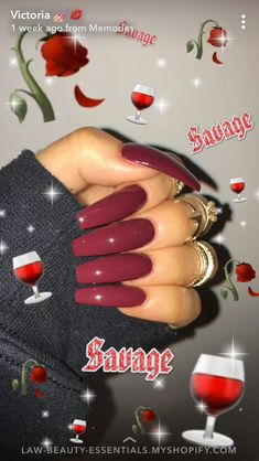 Dark Red long nails