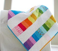 modern quilt ideas | did crosshatch quilting with double lines in one direction - Ashley ...   Good idea for a modern scrappy quilt