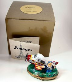 Limoges Box - Bear Pilot and his Airplane
