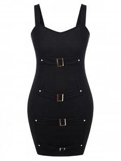 2681d45ebec Plus Size Front Buckle Halloween Dress - BLACK - 4X