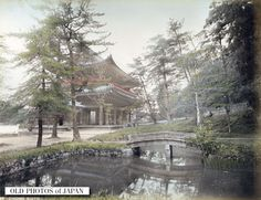1890's, Kyoto. View on the San-mon main gate and a stone bridge at Chionin buddhist temple in the Higashiyama district in Kyoto, Japan.