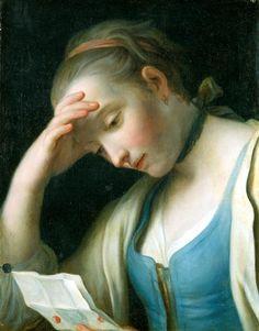 Brieflesendes Mädchen, den Kopf aufgestützt  Rotari, Pietro Antonio Graf  Gemäldegalerie Alte Meister (Dresden)