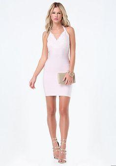 bebe Lace Halter Bandage Dress