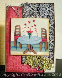 Handmade card with a french look for any anniversary