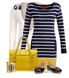 """Navy and Yellow Contest"" by angkclaxton ❤ liked on Polyvore featuring even&odd, Joules, Boohoo, Wallis, Tory Burch and Briolette"