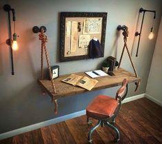 38 Attractive Industrial Bedroom Design Ideas For Unique Bedroom Style Pipe Lighting, Lighting Ideas, Vanity Lighting, Club Lighting, Wall Lighting, Kitchen Lighting, Industrial House, Industrial Table, Industrial Bedroom Decor