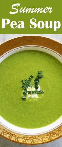 Summer Pea Soup! Made with frozen or fresh peas, not dried. With mint and shallots. Delicious!