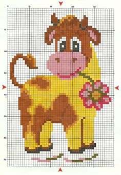 FLOWERY COW (no color chart available, just use photo/pattern chart as your stitch/color guide. or choose your own colors) Cross Stitch Cow, Cross Stitch Boards, Cross Stitch Animals, Cross Stitching, Cross Stitch Embroidery, Embroidery Patterns, Cross Stitch Patterns, Pixel Crochet Blanket, Perler Patterns