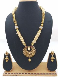 Latest Indian Bollywood Designer Kundan Pearl CZ Ruby Necklace Earrings 3pc Set #ShouryaExports #EthnicandContemporary