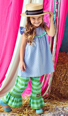 Matilda Jane Clothing It's A Wonderful Parade - Spring 2014 Blue Bonnet Pearl dress Size 6 and Landscape ruffles size 4