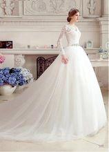 Alta qualidade de manga comprida Tull apliques de vestidos de noiva com longa romântico princesa real vestido de casamento vestido de noiva(China (Mainland))