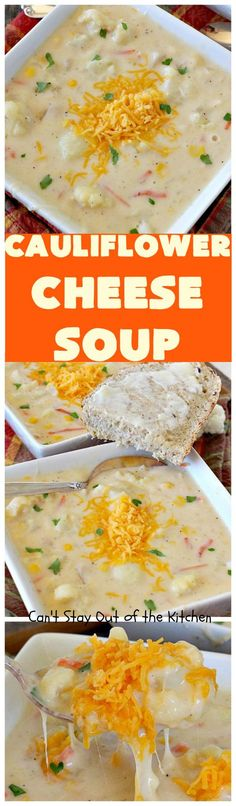 Cauliflower Cheese Soup   Can't Stay Out of the Kitchen   this #cauliflower #soup is heavenly. Uses #cheddarcheese #provolone & #creamofpotatosoup. Amazing comfort food.