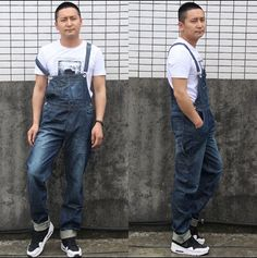 59.99$  Watch now - http://alic2b.worldwells.pw/go.php?t=32662850281 - 2016 Mens BiB Overalls Vintage Mid Waist Loose Blue Plus Size XS-4XL Jeans Overalls Jumpsuit For Men  59.99$