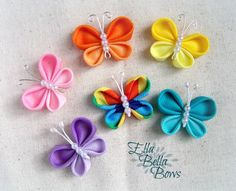 Kanzashi Butterfly Ribbon Sculpture Hair Clip, bug hair bow