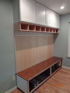 Custom built mud room bench and storage