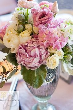 love pink roses and peonies in silver vase
