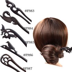 Women Vintage Carved Wooden Hair Stick Pin Wood Hair Accessories Black Handmade #Unbranded #HairStick #AllOccasions