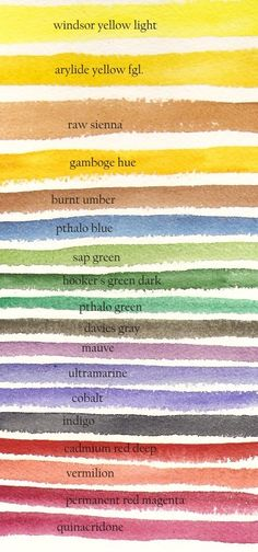 Watercolour palette chart.