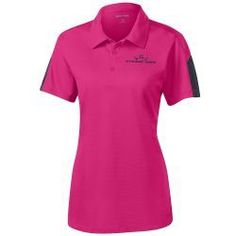 Dynamic Discs Ladies Sport Tek Collared Polo  Embroidery: King D's logo on front left chest   Features: 3.4-ounce, 100% cationic polyester mesh Gently contoured silhouette Tag-free label Self-fabric collar 3-button placket with dyed-to-match buttons Set-in, open hem sleeves Double-needle sleeves and hem