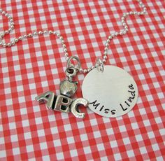 personalized ABC teacher necklace by juliethefish on Etsy