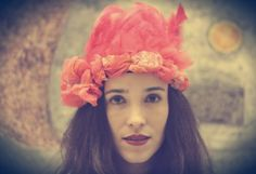 Festival orange feather headpiece handmade with reused silk fabric Made in Mexico Independent designers, international shipping available  Music, concert fashion