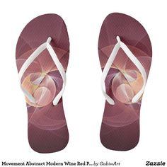 Movement Abstract Modern Wine Red Pink Fractal Art Flip Flops