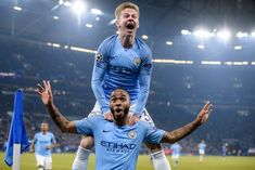 Raheem Sterling and Oleksandr Zinchenko of Manchester celebrate afer scoring lead during the UEFA Champions League Round of 16 First Leg match between FC Schalke 04 and Manchester City at the. Get premium, high resolution news photos at Getty Images Raheem Sterling, Uefa Champions League, Manchester City, February, Germany, Soccer, Football, Celebrities, Sports