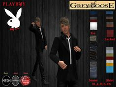 (WEAR ME) Playboy Outfit (The Grey Goose) secondlife, sl, avatar, men,outfit,jeans,pants,dress shirt,tie,outfit secondlife fashion lifestyle
