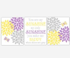 Baby Girl Nursery Wall Art Purple Yellow Lavender Gray Flower Burst You Are My Sunshine Butterfly Girl Room Wall Decor Baby Nursery Prints