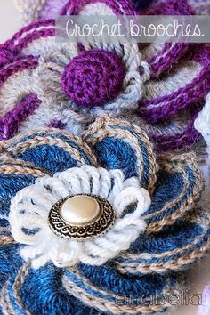 Crochet flower brooch by Anabelia (Scroll to lower portion of page for diagram pattern)