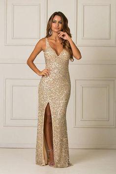 Sequined Sheath/Column V-neck Long Prom Dress with Sequins Split Front
