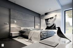 RZGÓW - Duża sypialnia małżeńska z balkonem / tarasem - zdjęcie od pijankastudio