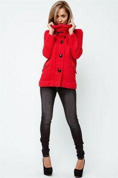 Scarlet Red Button Crop Jacket