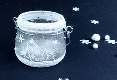 Téli hangulatú mécsestartó hópasztával - Art-Export webáruház