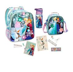 Disney Store Frozen Backpack Lunch Tote water bottle supply and stationery set ** More info could be found at the image url-affiliate link.