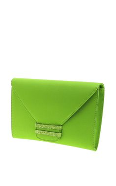 Connor Satin And Apple Green Crocodile Millenium Clutch