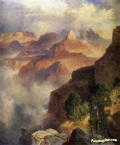A Bit Of The Grand Canyon - Grand Canyon Of The Colorado River Artwork by Thomas Moran Hand-painted and Art Prints on canvas for sale,you can custom the size and frame