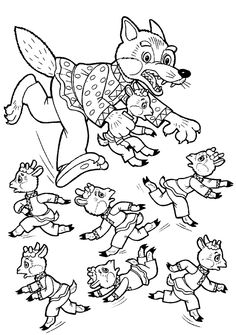 Раскраски сказка волк и козлята, сказка раскраска, скачать, распечатать Free Coloring Pages, Coloring For Kids, Coloring Books, Wolf, Hidden Picture Puzzles, Fairy Tale Activities, Discovery Toys, Three Little Pigs, Winter Kids