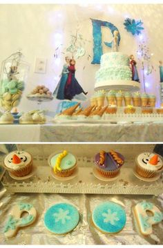 Pretty cupcakes, cookies and cake at a Frozen Birthday Party!  See more party ideas at CatchMyParty.com!