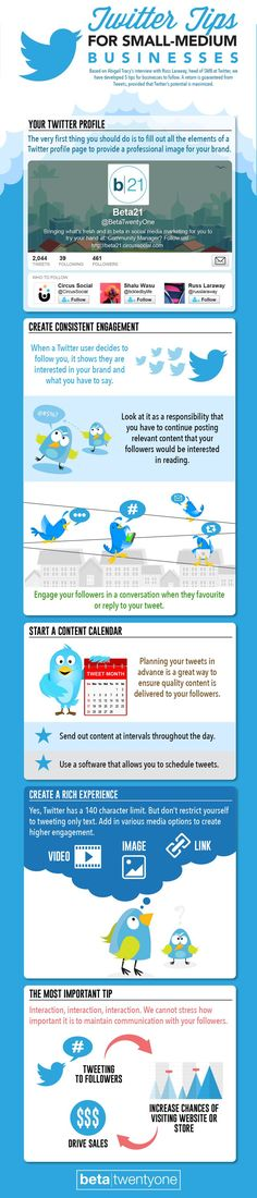 Business infographic : 5 Essential Twitter Tips from Twitter (Yeah!) For Small-Medium Businesses #Twitt