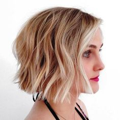 blunt+wavy+brown+blonde+bob