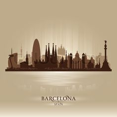 Vector of 'Barcelona Spain city skyline vector silhouette'