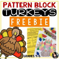 Enjoy this holiday themed freebie. guaranteed to bring excitement to your math class. Students will create a turkey using pattern blocks. I provide cardstock and pattern blocks to my students. Then they trace the pattern blocks to create a picture. Geometry Activities, Math Activities, Thanksgiving Activities, Holiday Activities, Turkey Pattern, Math Blocks, Teacher Freebies, Pattern Blocks, Math Centers