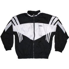 Vintage Adidas Black White WIndbreaker 3 Stripes Trefoil X-Large XL (41 AUD) ❤ liked on Polyvore featuring outerwear, jackets, coats & jackets, tops, windbreaker jacket, adidas, vintage windbreaker, black and white striped jacket and vintage windbreaker jacket