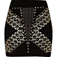 River Island Black studded mini skirt ($11) ❤ liked on Polyvore featuring skirts, mini skirts, saias, bottoms, faldas, short mini skirts, mini skirt, short skirts, studded skirt and reversible skirt