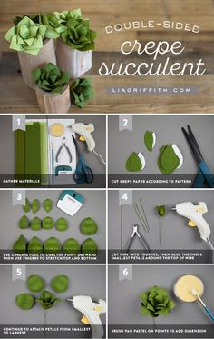 Make These Double-Sided Crepe Paper Succulent Plants - Succ It Up! ✨ Anyone can craft these double-sided crepe paper succulents! They require zero water - Paper Succulents, Paper Plants, Planting Succulents, Succulent Plants, Succulent Terrarium, Succulents Garden, Cactus Plants, Crepe Paper Flowers, Felt Flowers