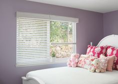 Utilizing blinds and a matching Georgetown Cornice to hide the head rail, this girls room becomes more complete. Smith And Noble, Girls Bedroom, Bedroom Ideas, Wood Blinds, Lumbar Pillow, Window Treatments, Cornices, Curtains, Pillows