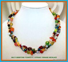 "Multi Gemstone ""CONFETTI"" 3 Strand Torsade Necklace - Jasper Citrine Jade Crystal Agate etc - OOAK Multi Color Rainbow Statement Necklace"