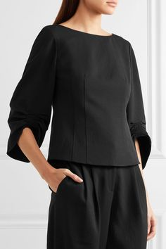 Tibi - Ruched Woven Blouse - Black - US