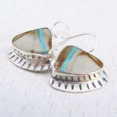 Argentium Sterling Silver and Royston Ribbon Turquoise Earrings